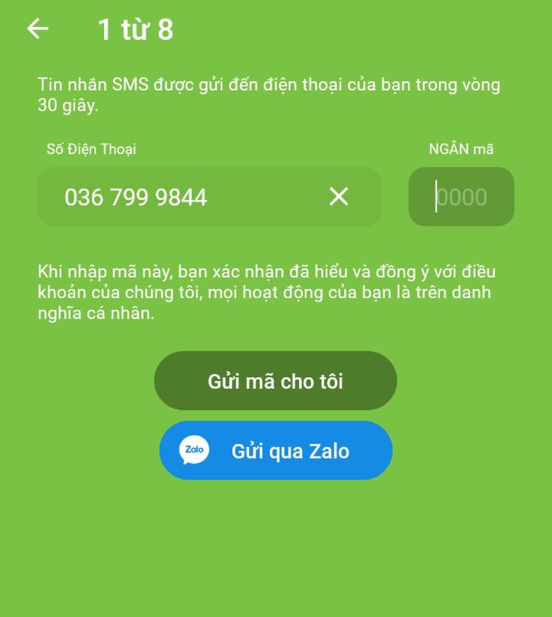 Nhập thông tin số điện thoại và xác thực qua mã OTP