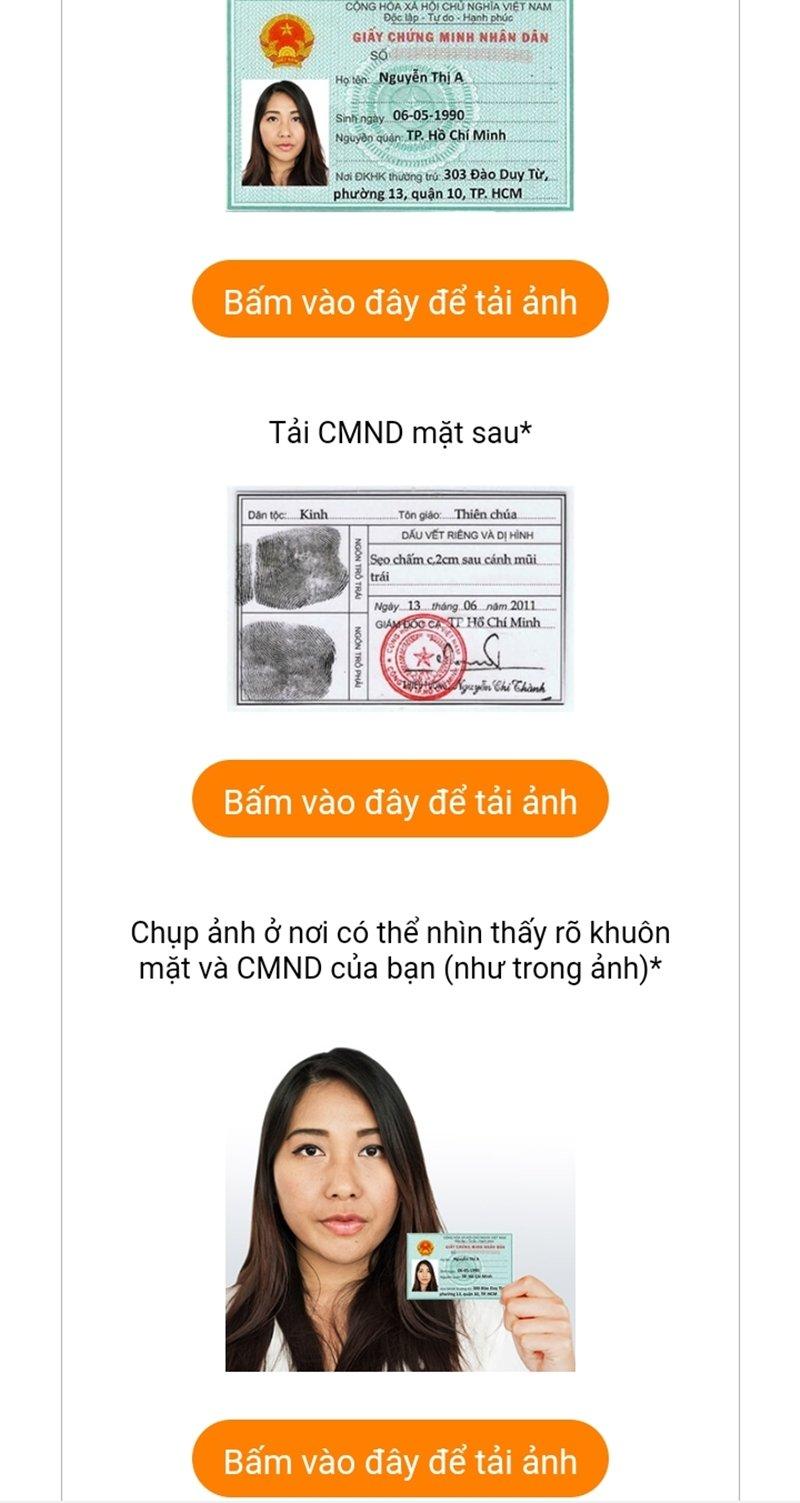 Chụp ảnh giấy CMND/CCCD và ảnh cá nhân