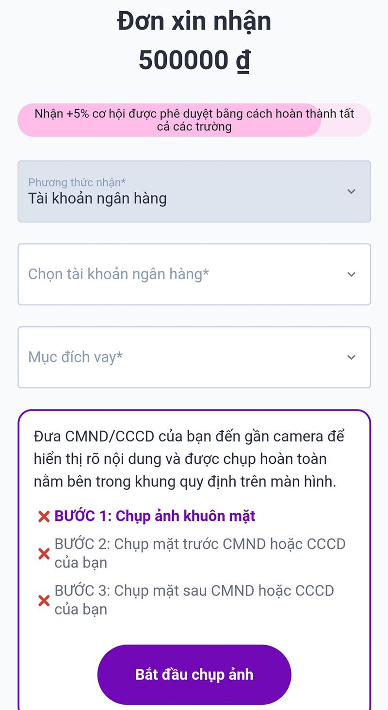 Nhập thông tin giải ngân và cung cấp hình ảnh cá nhân + CMND/CCCD theo yêu cầu