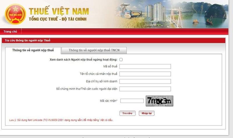 Trang chủ công tra cứu số CMND online của Tổng cục thuế